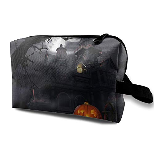 Portable Waterproof Travel Cosmetic Bag - Halloween Pumpkin Castle Art Lady Makeup Organizer Clutch Bag with Zipper - Travel Toiletry Storage Pouch Pencil Holder