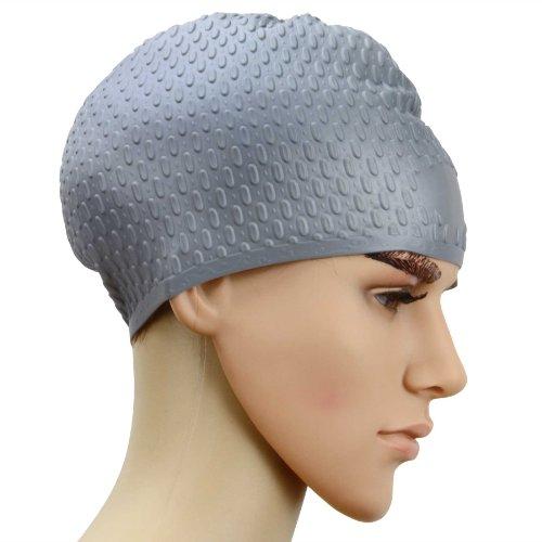 Unisex Long Hair Waterproof Swimming Caps(Grey) - 5