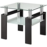 Bowery Hill Square Glass Top End Table in Black