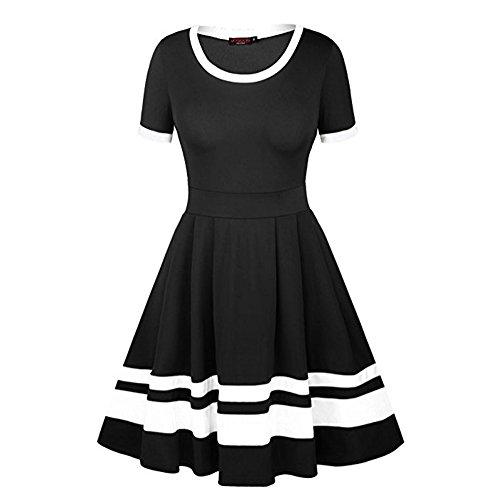 Dress Women Evening Sleeve Party Black Short Mid Pleated Vintage Bonboho Bodycon AqYzdww