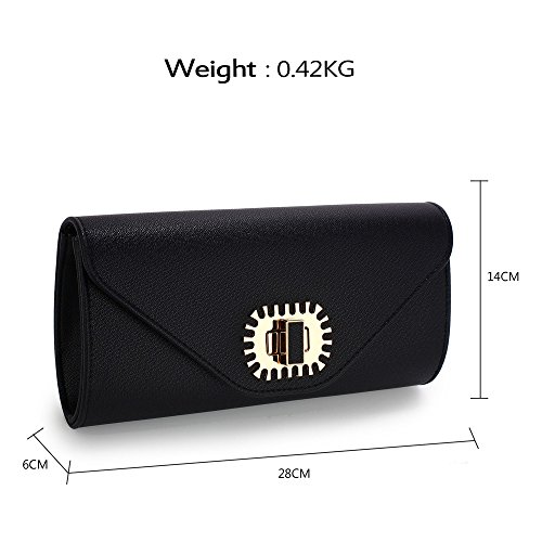 UK Fabulous Twist Black DELIVERY FREE Purse Lock Clutch Flap Over qaq6Fw