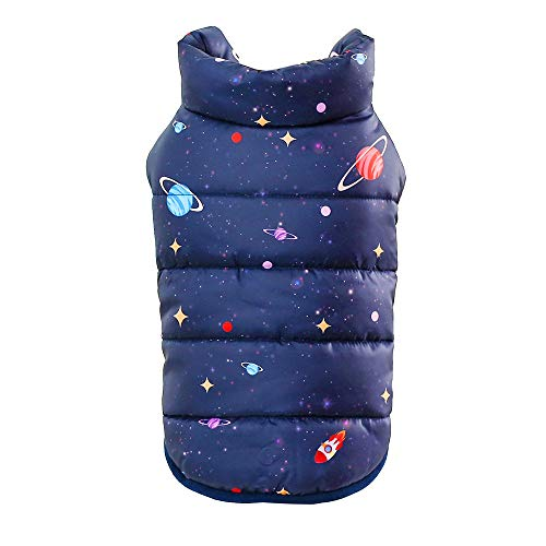 Pet Warm Vest Puppy Winter Planet Printed Button