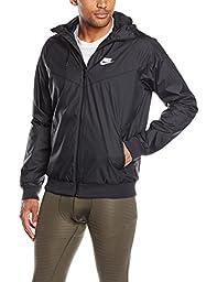 Nike Mens Windrunner Hooded Track Jacket Black/Black/White 727324-010 Size Medium