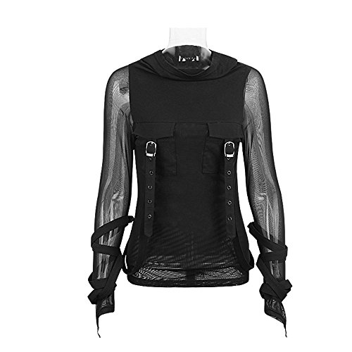 Punk Rave Women's Black Gothic Steampunk See Through Long Sleeve Hooded T Shirt Blouse Sweatshirt(XS-M)