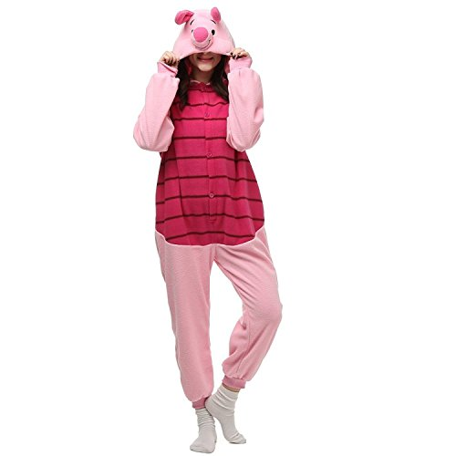 Piglet Onesie Pajama Costume For Adults and Teenagers (Adult Piglet Costume)
