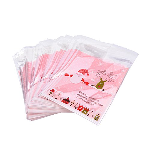 100pcs Lovely Plastic Candy Biscuit Gift Packaging Bag(Pink) - 5