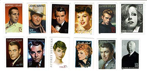 - 12 Different Hollywood Stars on U.S. Postage Stamps - MNH