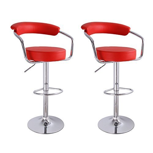 Adeco Red Leatherette Cushioned Adjustable Barstool Chair, Curved Back, Chrome Arms Pedestal Base (Set of Two) (Chair Back Curved Arm Dining)
