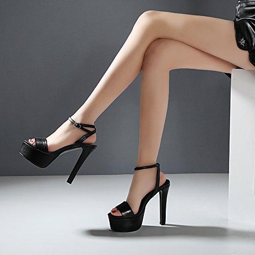 Alto Shoessummer Sandalias Mujer De Alto Sandalias Con Tacón Áspero VIVIOO Sandalias 13cm De De Impermeables De Alto Black De Zapatos Mujer Sandalias Tacón Tacón Un Sandalias Con Verano wW8twYBqPx