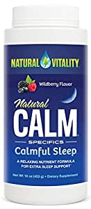 Natural Vitality Natural Calm Calmful Sleep Magnesium Anti Stress Extra Sleep Support, Organic, Wildberry, 16 oz
