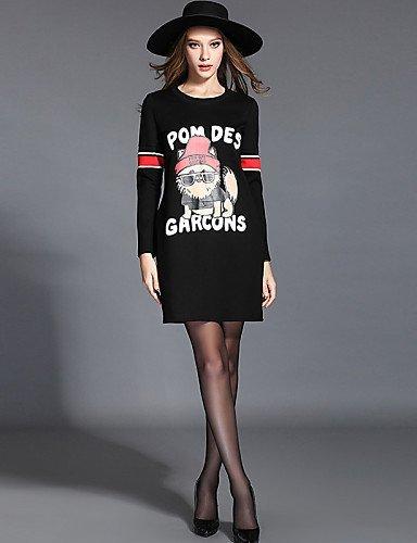 GSP-Damen Kleid - Übergrößen Übergröße Druck Übers Knie Polyester Rundhalsausschnitt