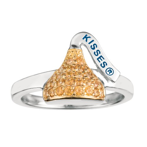 Jewelry Hershey - Sterling silver & golden yellow Cubic Zirconium Flat Back Hershey's Kiss November Small Fashion Ring