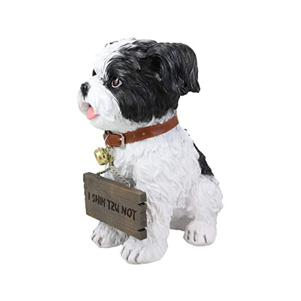 """Ebros Adorable Lifelike Panting Shih Tzu Toy Dog Breed Statue With Jingle Collar Welcome Greeting Sign 11.25""""Tall Realistic Shih Tzus Puppy Home And Garden Decor Figurine Animal Pet Memorial Sculpture 5"""