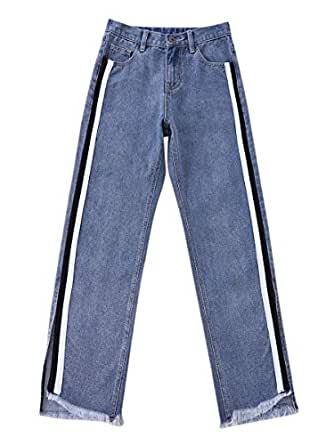 Women's Jeans Patchwork Split Button Pocket Denim Pants