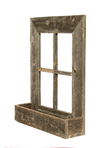 [BarnwoodUSA Rustic Window Planter Frame - 100% Reclaimed Wood, Weathered Gray] (Frame Planter)