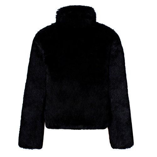 Negro Soporte Pelo Abrigo Mujer Invierno iBaste Chaquetas Chaqueta Collar del Sintético Corto qXaxx1BP