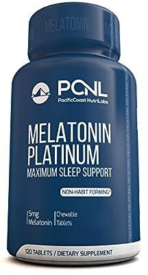 PacificCoast NutriLabs 5mg Melatonin, Non-Habit Forming, All Natural Sleep Aid, Rapid Release Formula, Free Ebook & Empty Bottle Guarantee, 120 Capsules