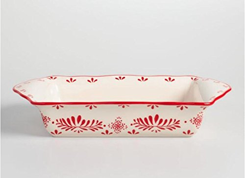 Rectangle Baking Dish - Ceramic Baking Dish, Pan, Baker, Lasagna pan,Oven to Table Rectangle Red and white Decorative Scandinavian Inspired Design PERFECT FOR YOUR CHRISTMAS TABLE PRESENTATION