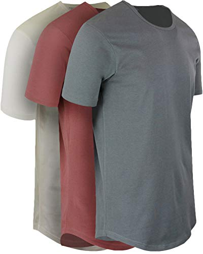 ShirtBANC Mens Hipster Hip Hop Long Drop Tail T Shirts (Cool Gray | Vintage White | Dusty Rose, XL)