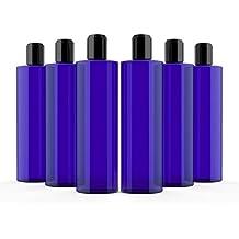 Newday Bottles, Cobalt Blue 8 Oz Plastic Bottles PET Cylinder Refillable BPA Free with Black Smooth Hand Press Disc Cap Tops, Pack of 6