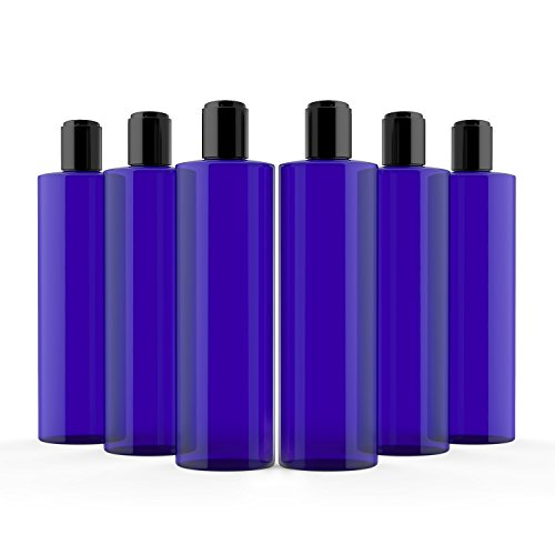 Newday Bottles, Cobalt Blue 8 Oz Plastic Bottles PET Cylinder Refillable BPA Free with Black Smooth Hand Press Disc Cap Tops, Pack of 6