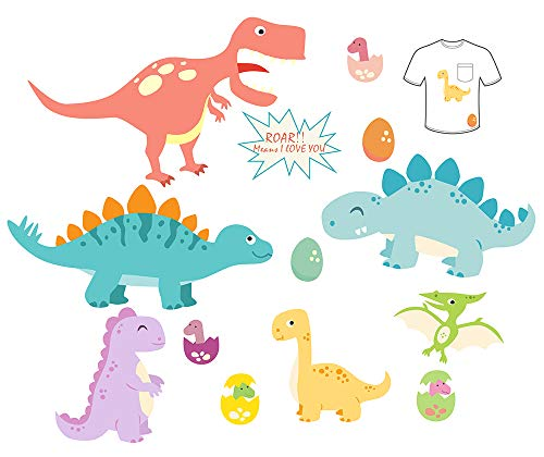 Baby Iron-On Patches 12 Pcs Dinosaurs DIY Iron On Transfer for Kids Decorate T-Shirts, Jeans, Clothes. Cute Dinosaurs Patches Design Fits Party