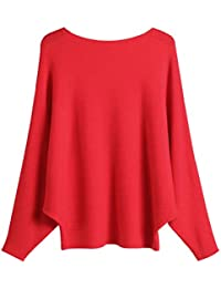 Women's Batwing Sleeve Knit Sweater Oversized Pullover Top