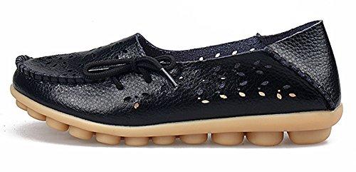 Labato Style Labatostyle Leren Casual Damesslippers Rijdende Moccasinevellen Slip-on Pantoffels Zwart-02