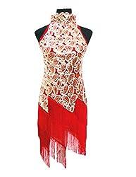 KAYAMIYA Women's Vintage 1920S Sequin Paisley Pattern Fringe Flapper Art Deco ress 0-4 Red