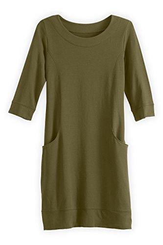 Womens Princess Dresses (Fair Indigo Fair Trade Organic Princess Seam Pocket Dress (XS, Olive Green))