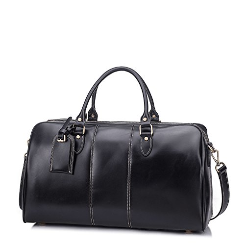 Leather Duffel Bag Travel Overnight Gym Sports Weekender Tote Bags Black by Kissloves