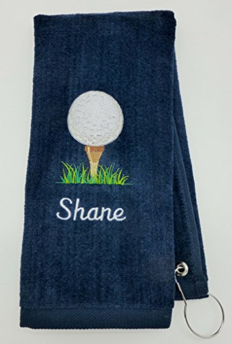 Mana Trading Custom Personalized Golf Towel Golf Ball ON TEE (Navy - Golf Personalized Towel Name