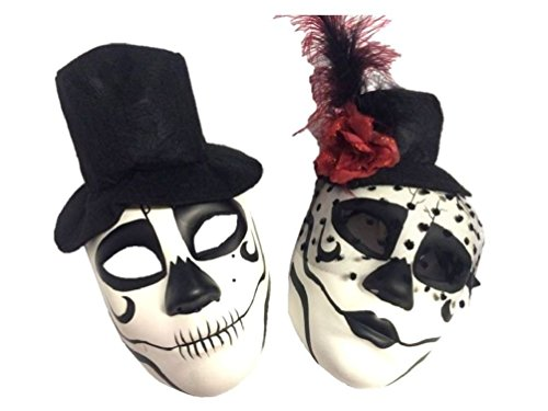 [Day Of The Dead Sugar Skull Mask Halloween Skeleton Head Men Lady Bride Groom] (Day Of The Dead Female Mask)