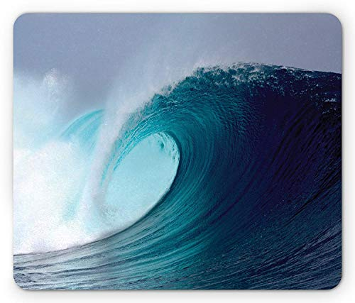 Ocean Mouse Pad, Tropical Surfing Huge Wave on a Windy Sea Indonesia Sumatra Picture Print, Standard Size Rectangle Non-Slip Rubber Mousepad, Blue Aqua and ()