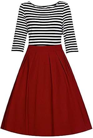 LUNAJANY Women's Casual Half Sleeve Bateau Neckline Breton Stripe Swing Dress small red