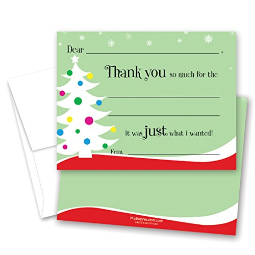 MyExpression.com 20 cnt Decorated Tree Kids Christmas Fill-in Thank You Cards and Envelopes