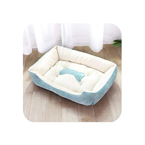 Six Size for Option Fashion Puppy Cats Pet Beds for Big Dog Comfortable Plush Warm and Large XL Dog Bed,Light Blue,70X52X15Cm