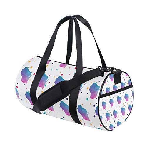 (Watercolor Wisconsin Gym Duffel Bag, Training Duffle Bag DKRetro Round Travel Sport Bags for Men Women)