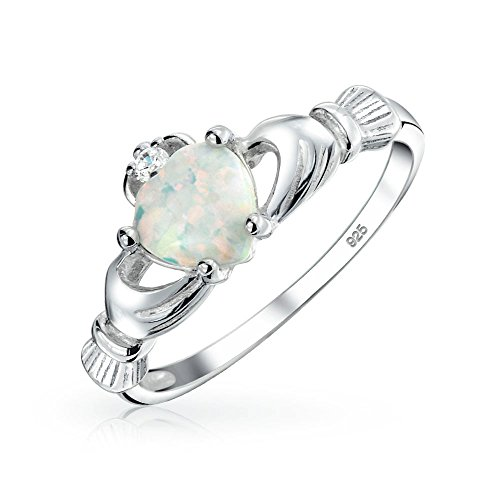 Celtic Valentine Heart Synthetic White Opal Claddagh Ring Sterling Silver