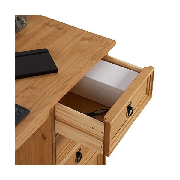 IDIMEX Bureau Salsa avec Rangement 4 tiroirs en pin Massif Finition teintée/cirée, Style Mexicain