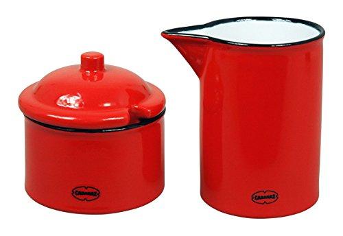 Cabanaz Retro Enamel Effect Ceramic Milk Jug Creamer 200ml and Sugar Pot 120ml Set of 2 | Scarlet Red ()
