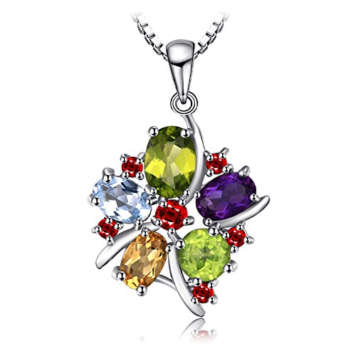 JewelryPalace Flower Multicolor 3.1ct Natural Amethyst Garnet Peridot Citrine Blue Topaz Pendant Necklace 925 Sterling Silver 18