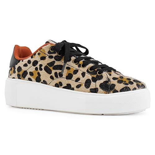 - Women's Casual Low Top Platform Fashion Sneakers Flats Camel Leopard Size.10