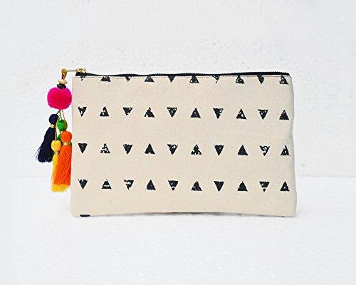 Nero e Bianco, motivo geometrico, azteco borsetta, make up o per cosmetici, borsello, 12,7x 22,9cm