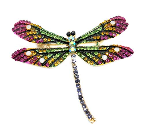 (Ahugehome Women Insect Dragonfly Brooch pin Fashion Cute Inlay Style Crystal Gift Box (D Dragonfly Green))