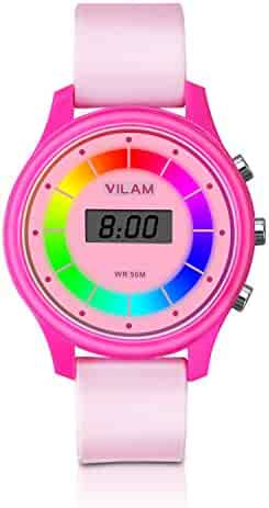 Rainbow Coloured Lights Kids Watch 7 Colors Flashing 50M Waterproof Children Electronic Watch, Washable Comfortable Watchband Digital Child Wrist Watch for Boys and Girls (Pink)