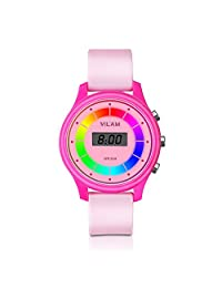 Rainbow Coloured Lights Kids Watch - 7 Colors Flashing 50M Waterproof Children Electronic Watch, Washable Comfortable Watchband Digital Child Wrist Watch for Boys and Girls as Christmas Gift (Pink)