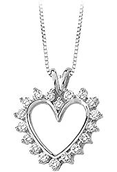 14K Yellow/White Gold 7/8 ct. Diamond Heart Pendant with Chain