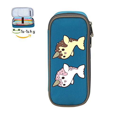 MOPE Unicorn Dolphin Doughnut Pencil Case Double Zipper Large Storage Space Mulit-function Stationary Portable Makeup Bag ()
