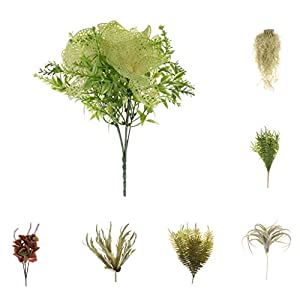 Homyl Bunch Artificial Plants Seaweed Garden Wedding Decor Phalaenopsis/Vine/ Persian Grass/Perilla Leaves/Staghorn Fern/Sago Cycas Leaves/Air Grass 7